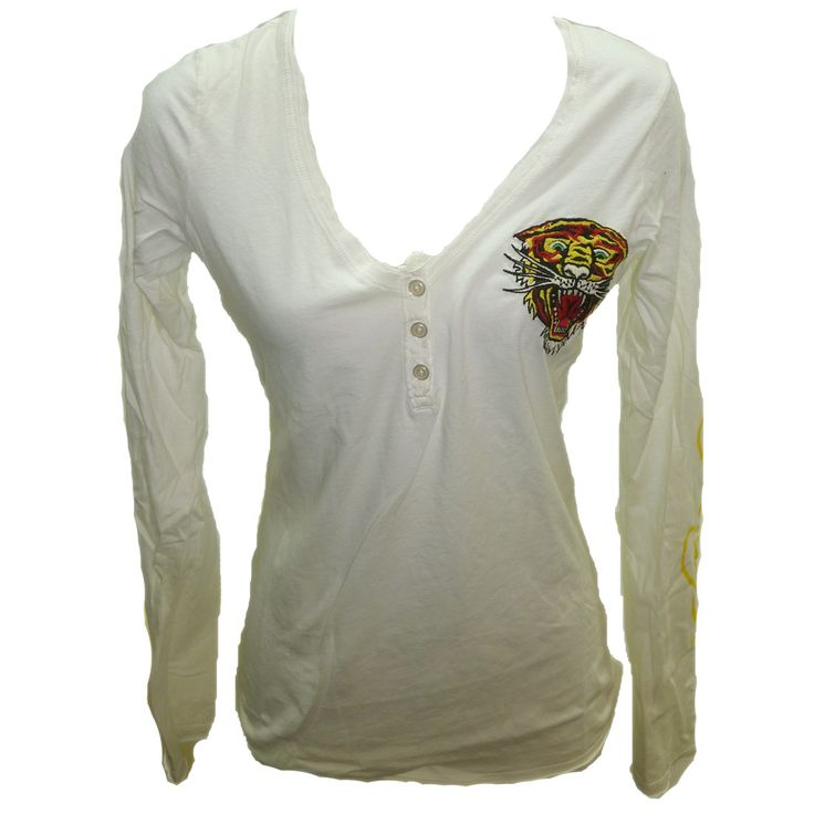 Ed Hardy Womens New Tiger V-Neck Henley-Cream