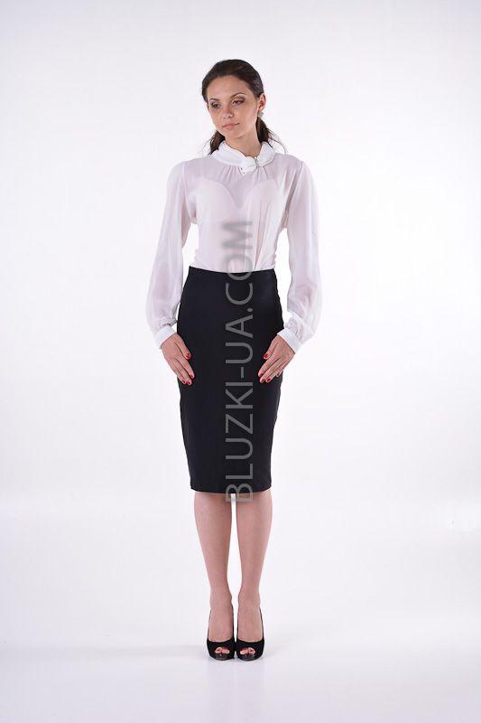 Прозрачная блузка из шифона с оригинальным воротником-хомут и брошью, купить онлайн. Интернет-магазин БЛУЗКИ UA, Украина - женская одежда и женские блузы.