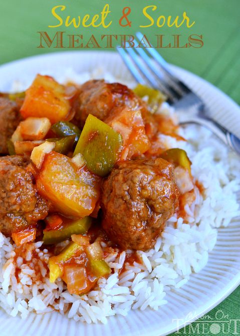 Grandma's Sweet and Sour Meatballs are the ultimate comfort food and can be whipped up in a jiffy!  Made them last night and they are soooo good! MomOnTimeout.com