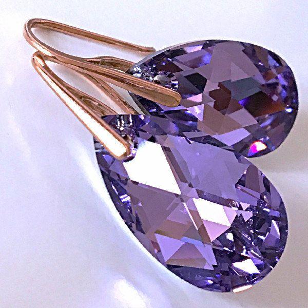Violet Cal Swarovski Earrings Purple Amethyst Lilac Comet Argent Light Pastel Pale Spring Wedding