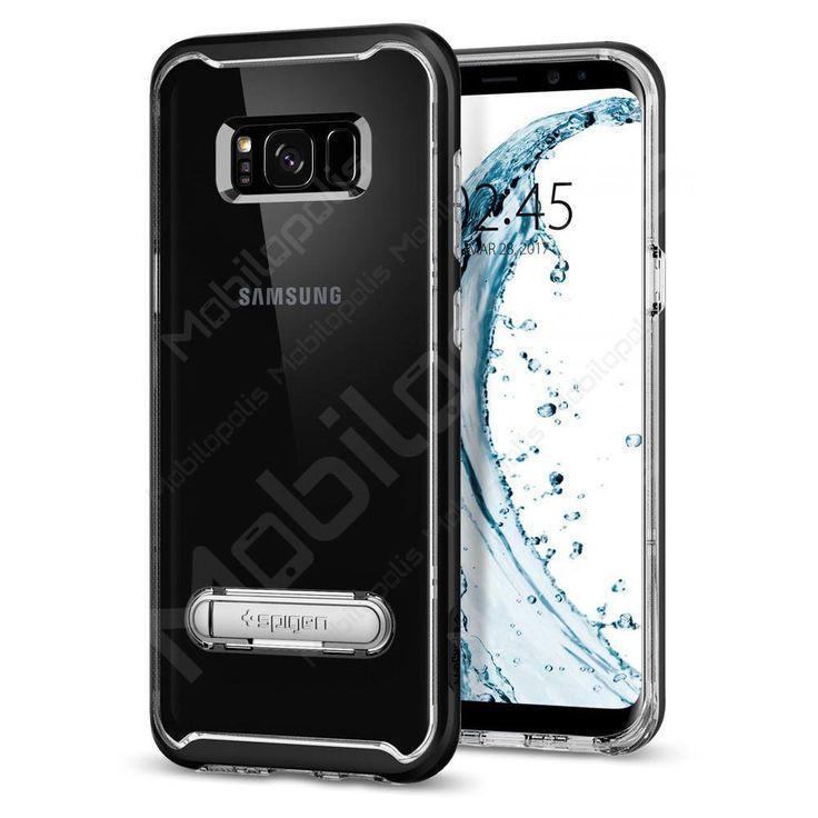 Průhledný kryt na Samsung Galaxy S8 se stojánkem Spigen Crystal Hybrid černý | Mobilopolis.cz