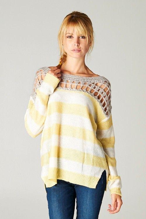 Gracie Crochet Pullover inspiration      ♪ ♪ ... #inspiration #crochet  #knit #diy GB