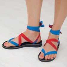 Red and Blue Ribbon Sandals by Sseko Designs...Ribbons can be tied in a variety of ways as pershown on Youtube.  Ribbon colors and designs can be intermingled to match your outfits.  Buying a  Sseko product will help send a Ugandan girl to college.