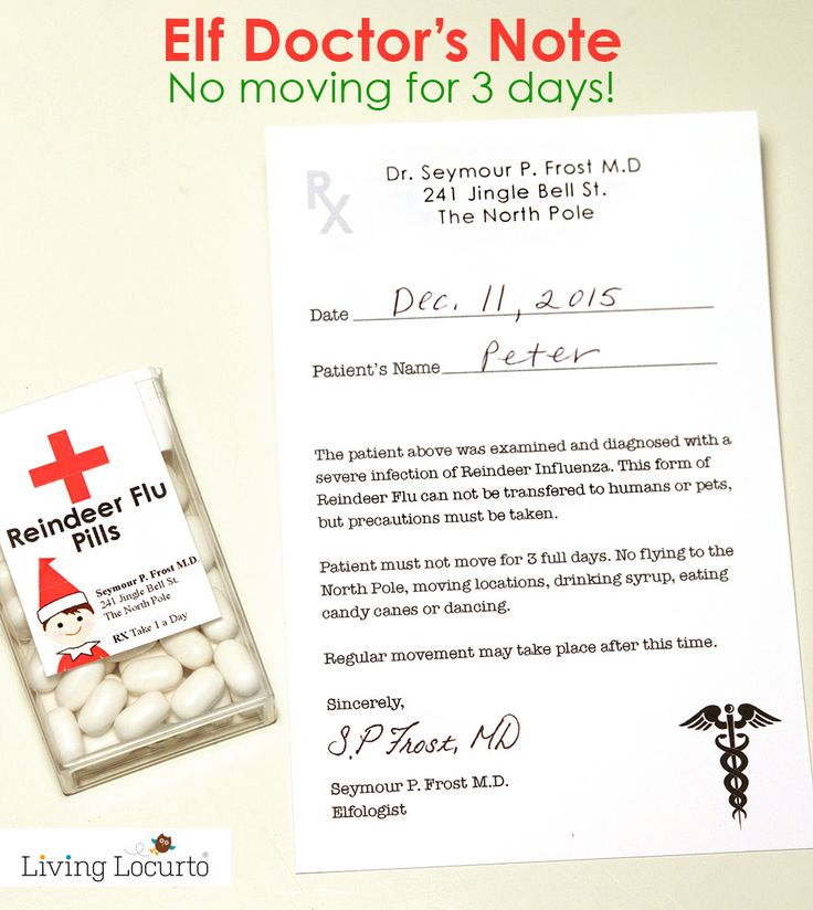 Elf Doctor's Note! No moving for 3 days... it's the doctor's order. Comes with Reindeer Flu Pill Labels. Clever idea for your Elf on the Shelf when you need a break from it all.