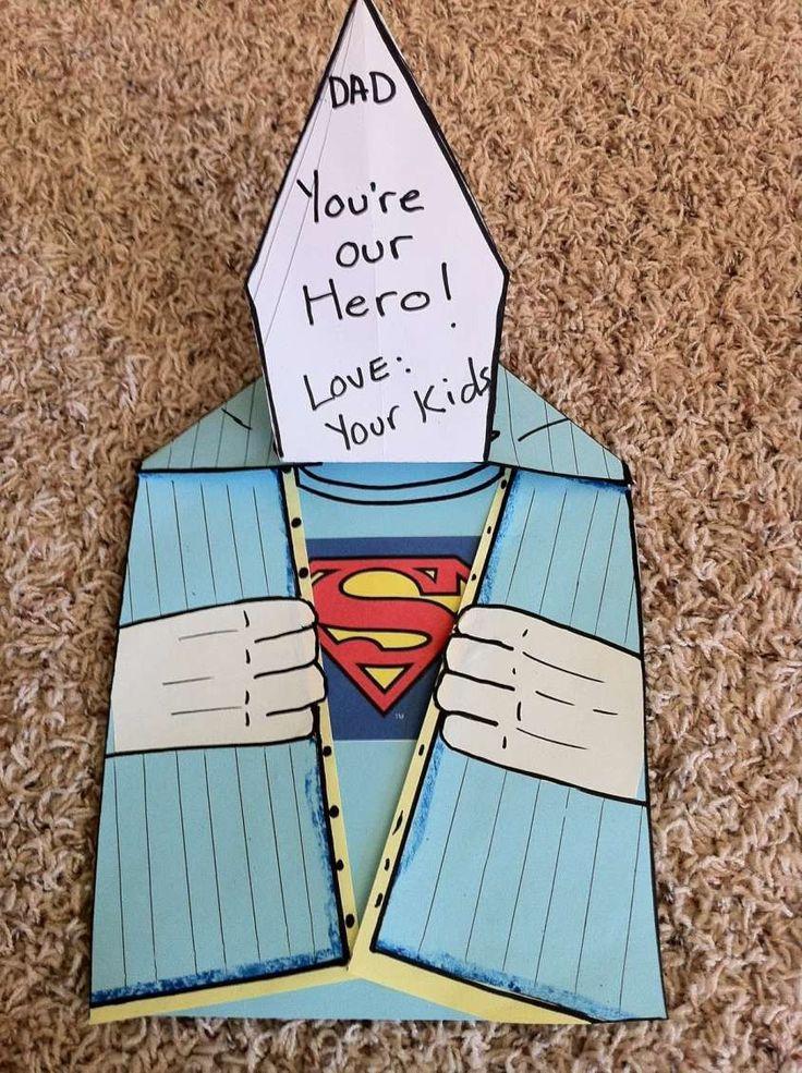 biglietti originali fai da te per la festa del papà - Biglietto superman per la festa del papà