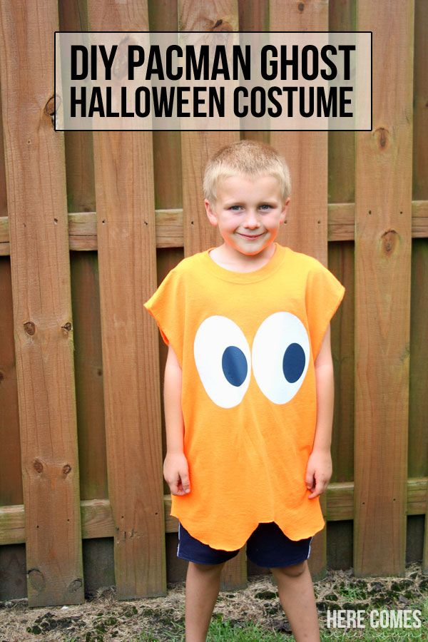 This DIY Pacman Ghost costume takes 15 minutes to put together! Great idea and super easy too!