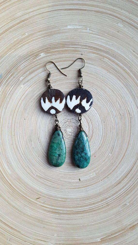 Batik Bone Tribal Earrings, Green Stone Earrings, African Earrings, Afrocentric Earrings, Hippie Jewelry, Boho Earrings, Teardrop Earrings https://www.etsy.com/listing/546321462/batik-bone-tribal-earrings-green-stone