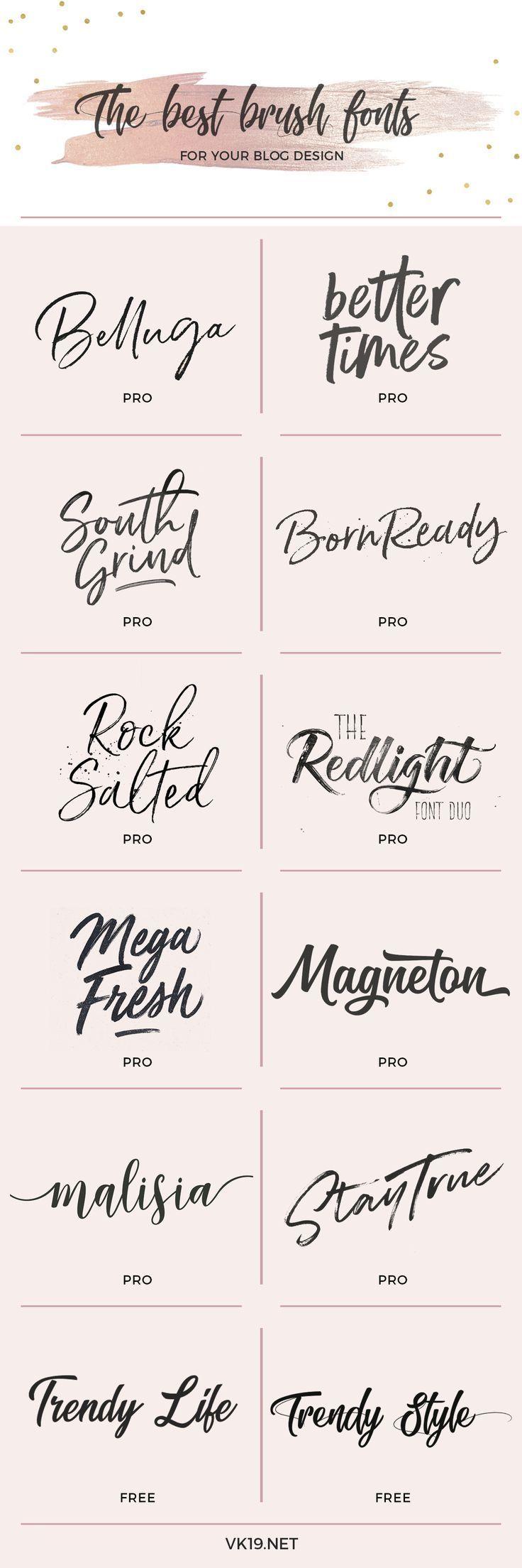 Die besten Pinselschriftarten für Ihr Blog oder Ihre Website … – #blog #Brush #fonts #Logo # …