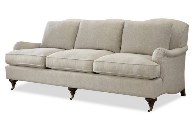 """Churchill 85"""" Linen Sofa, Beige"""