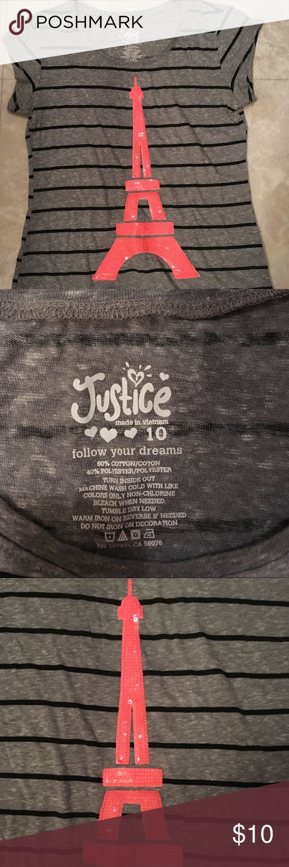 Girls Justice shirt Girls Justice shirt with pink Sequence Eiffel Tower. Used but hardly worn maybe twice. No picks, tears, or stains. Great condition! Justice Shirts & Tops Tees - Short Sleeve