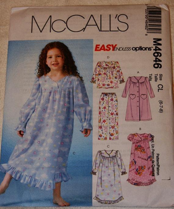 New McCalls  Girls sleepwear M4646 Size CL  6 7 8 by jrsherwood, $3.95