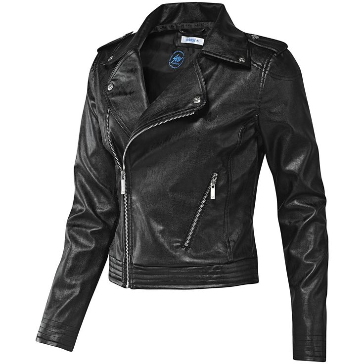 Women's Faux Leather Biker Jacket, Black, Adidas Next must ...