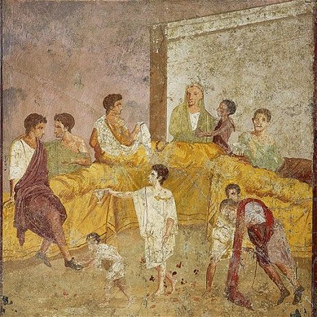 A fresco of a dinner, found in Pompeii - British Museum Exhibit on Ancient Roman Food, spring 2013