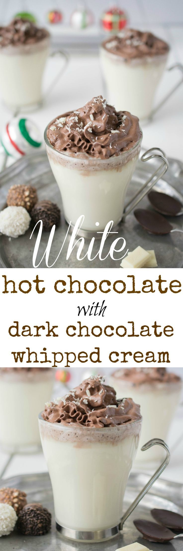 White hot chocolate with dark chocolate whipped cream piped on the top. It's a chocolate-fest that is a warm and would make a perfect after Christmas dinner dessert.