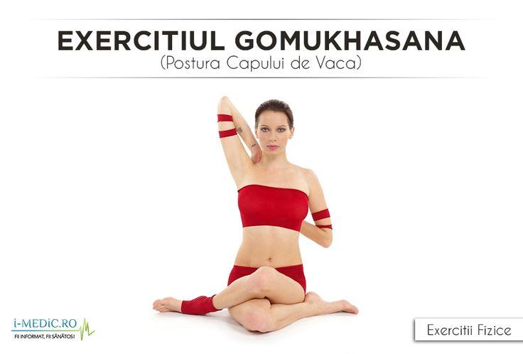 Avantajele Posturii Gomukhasana (Postura Capului de Vaca) - Constituie un exercitiu de stretching ideal pentru glezne, solduri, coapse, umeri, zona axiala, piept, deltoizii si tricepsi. - In combinatie cu exercitii de stretching pentru tendoane si muschii gluteali aceasta postura previne aparitia durerilor cronice de la nivelul genunchilor,specifice in general atletilor http://www.i-medic.ro/exercitii/yoga/exercitiul-gomukhasana-postura-capului-de-vaca