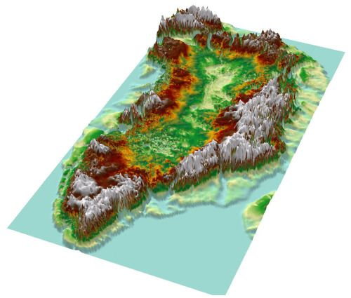 - Topographic map of Greenland from bedrock elevation data.