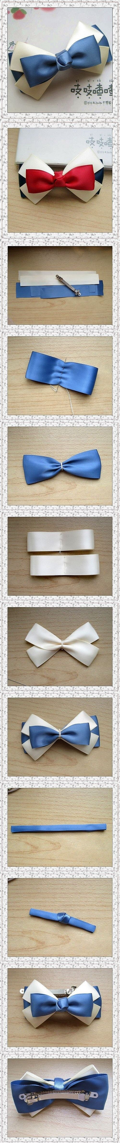 hair bow tie DIY                                                                                                                                                      More