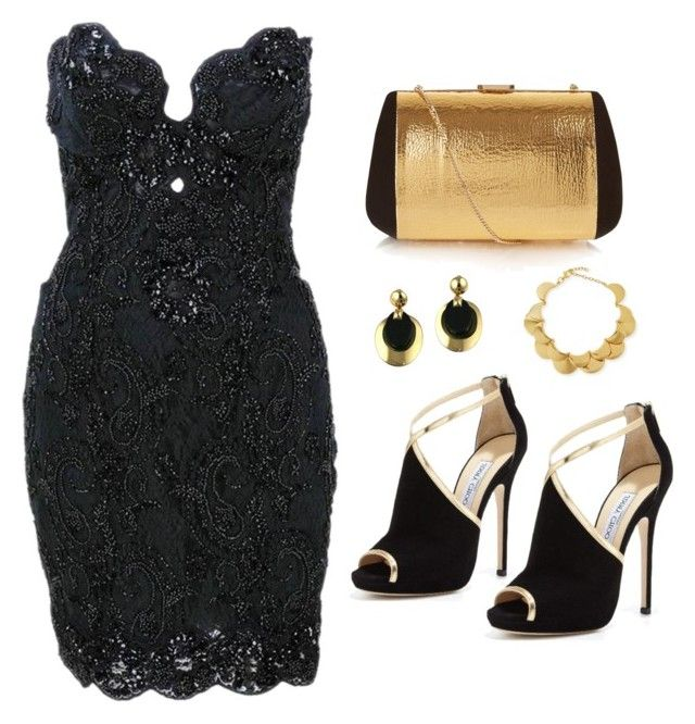 """Black dress"" by amra83 ❤ liked on Polyvore featuring Vicky Tiel, Jimmy Choo, Nina Ricci, Lele Sadoughi and Christian Dior"