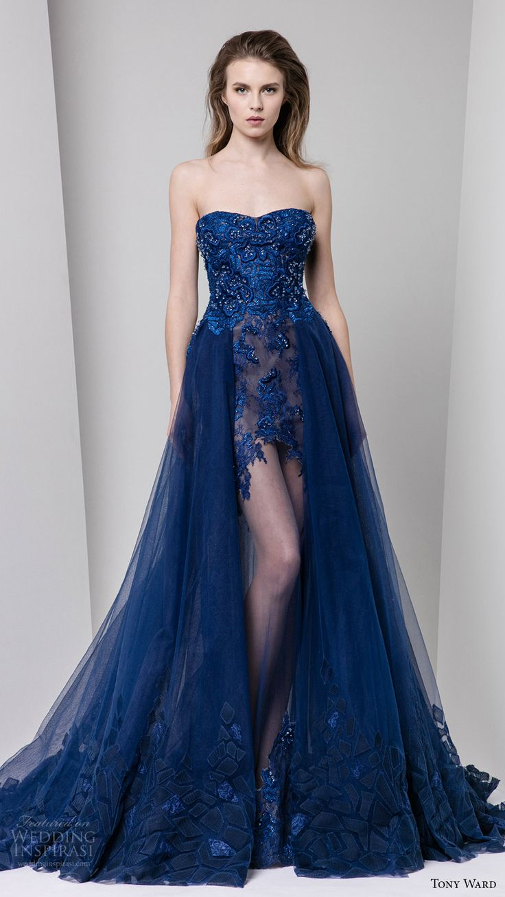 strapless semi sweetheart embellished bodice a line evening dress illusion skirt overskirt blue color
