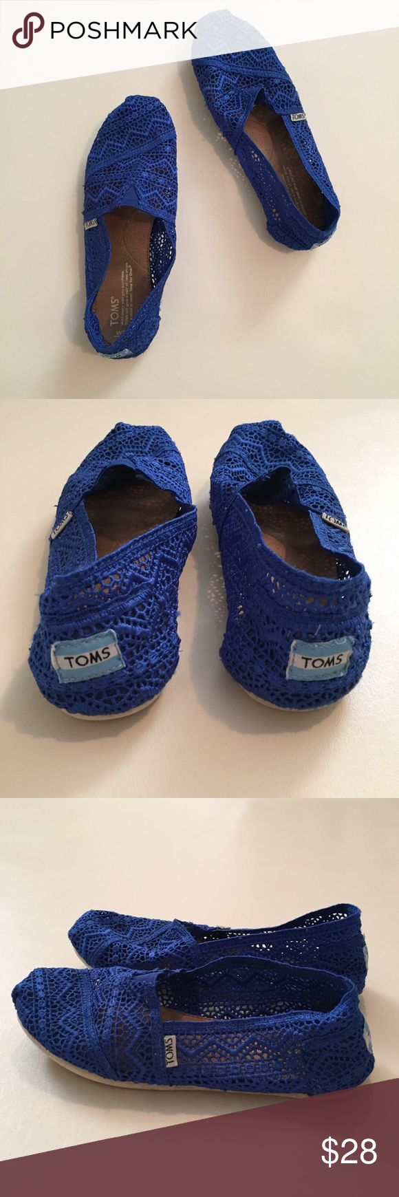 """TOMS Crochet slip ons TOMS brand crochet slip ons in royal blue. Some wear on back labels and sole. Size 8. Sole measures 10"""". TOMS Shoes Flats & Loafers"""