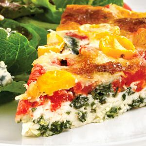 Healthy and Light Quiche with Garlic, Baby Spinach, Gruyere Cheese, and Roasted Red Peppers