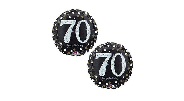 "Happy 70th Birthday Party Foil 18"" Balloons - Black, Gold and Silver (2 Pack)"