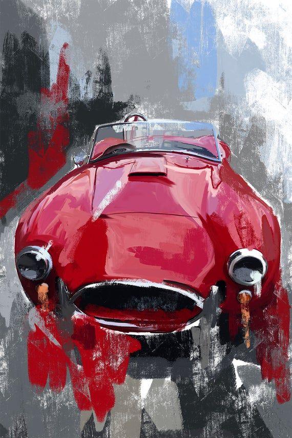 Shelby Cobra Canvas Painting Vintage Car Art Classic Sports Etsy In 2021 Vintage Car Art Car Painting Motorsport Art