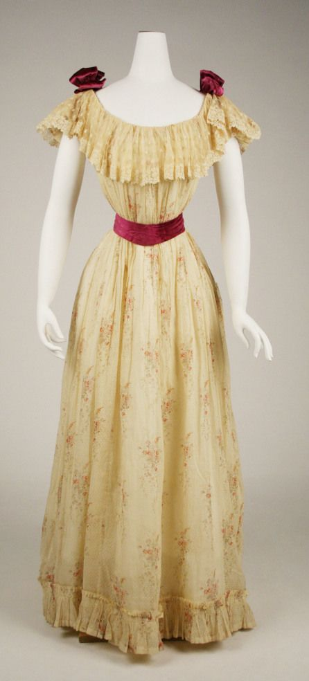 The 1890s ushered in an era of modest, dignified gowns, some of which were almost prudish in appearance.  Necklines were high, skirts were straight, and enormous puffed sleeves—hearkening back to t…