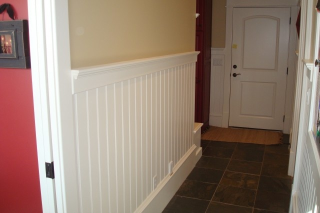 Front hallway paneling for the home pinterest front for Examples of wainscoting