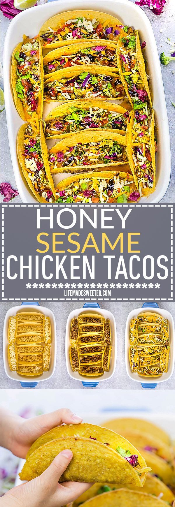 Oven Baked Asian Sesame Chicken Tacos – a simple and delicious recipe perfect for busy weeknights and Cinco de Mayo. Best of all, a short recipe video. Layered with sweet and savory sesame chicken, rainbow vegetables, and a blend of 3 cheeses. Flavor packed and addicting!