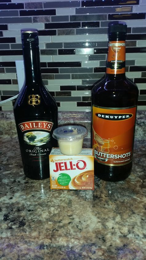 Buttery Nipple pudding shots- this taste just like the shot and they'rer my favorite by far----   1 package of butterscotch pudding----  3/4 cup of milk----  1/3 cup of buttershots----   1/3 cup of Baileys----   1 tub of cool whip----  Mix pudding, milk and alcohols together with an electric mixer. Fold  in cool whip. Place in cups and freeze.