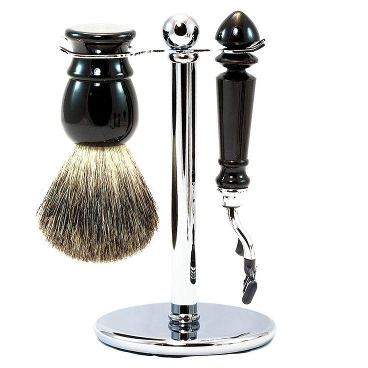 """Bayview"" 3-Piece Gillette Mach3 Shaving Set in Imitation Ebony, Pure Grey Badger Shaving Brush"