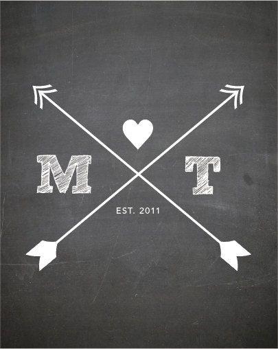 CUSTOM Typography Print - CHALKBOARD Print with arrows and initials - Nursery Art  - Wedding Art -  Size 8x10