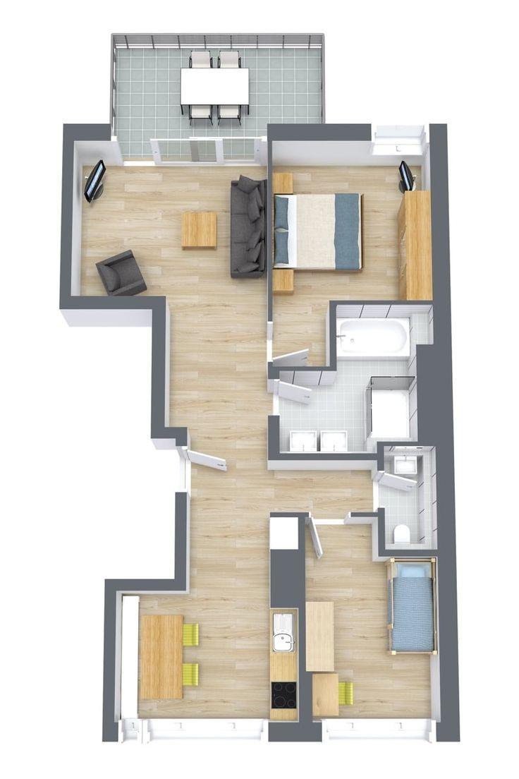 Floor plan of our 2-bedroom corporate apartment in the center of Stuttgart.