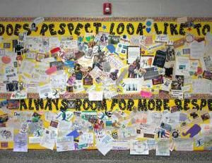 A bulletin board at Thomas Jefferson Middle School asked students 'What Does Respect Look Like To You?'