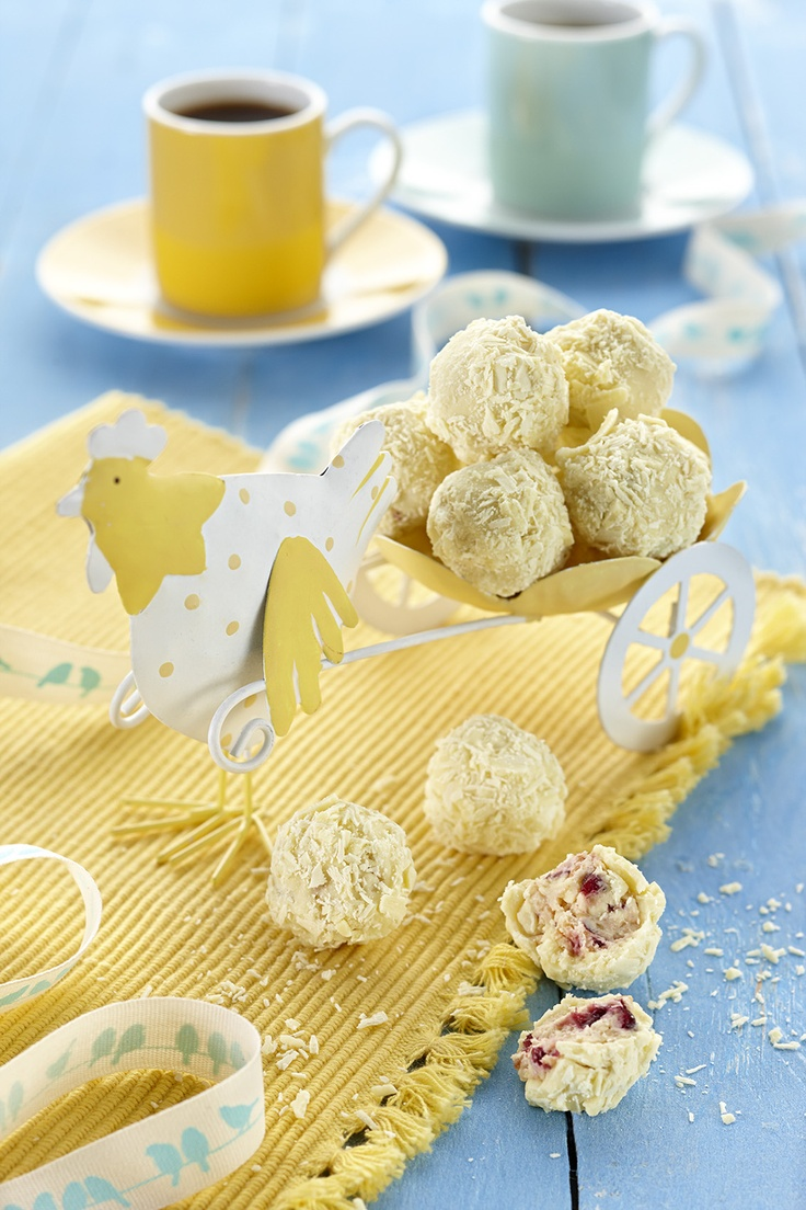 These White Chocolate Truffles are perfect for your Easter table that can easily be altered to suit children by leaving out the orange liqueur.