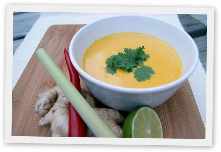 Thaise pompoensoep: lekker pittig. Met kikkererwten een echte maaltijdsoep.