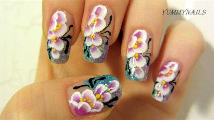 Purple & White Cherry Blossom One Stroke Design with Light Blue & Purple...