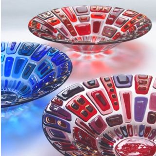 """Bejewelled Bowl"", by Alex R, $165.  Tack fused and slumped bowls produce some nice jewel tones.  #glass #fused #kilnformed"