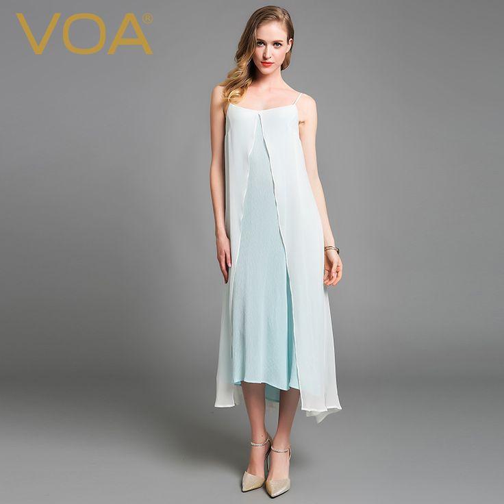 Encontrar Más Vestidos Información acerca de Nuevo vestido de verano 2016 de seda pura de seda de VOA blanco delgado largo vestidos de playa A5996, alta calidad vestimenta masculina, China vestido de negro y rosa Proveedores, barato vestido blanco de VOA Flagship Shop en Aliexpress.com
