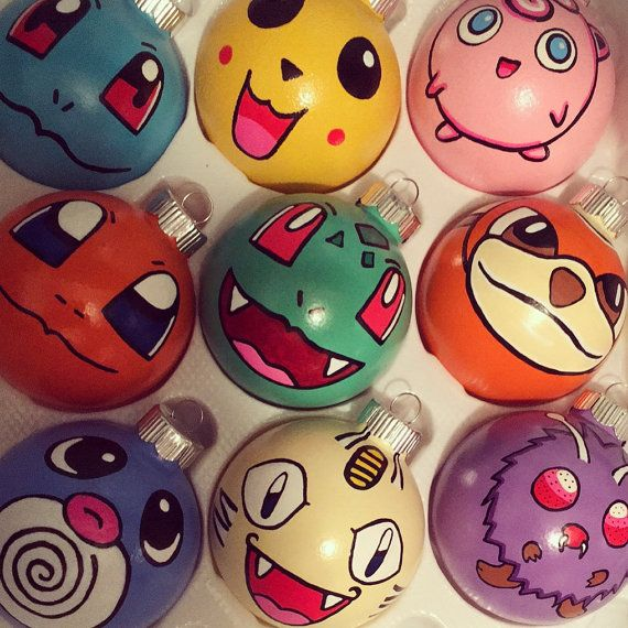 This listing is for one Pokemon ornament your choosing.  You will be prompted to select your preference of characters at check out!  If you would like a custom pokemon not listed at check out please select other and message me your request!  These fun, brightly colored ornaments are a great addition to any Pokemon lovers tree! Ornaments are hand painted with acrylic paint and sealed with a chip and stain resistant acrylic sealant.