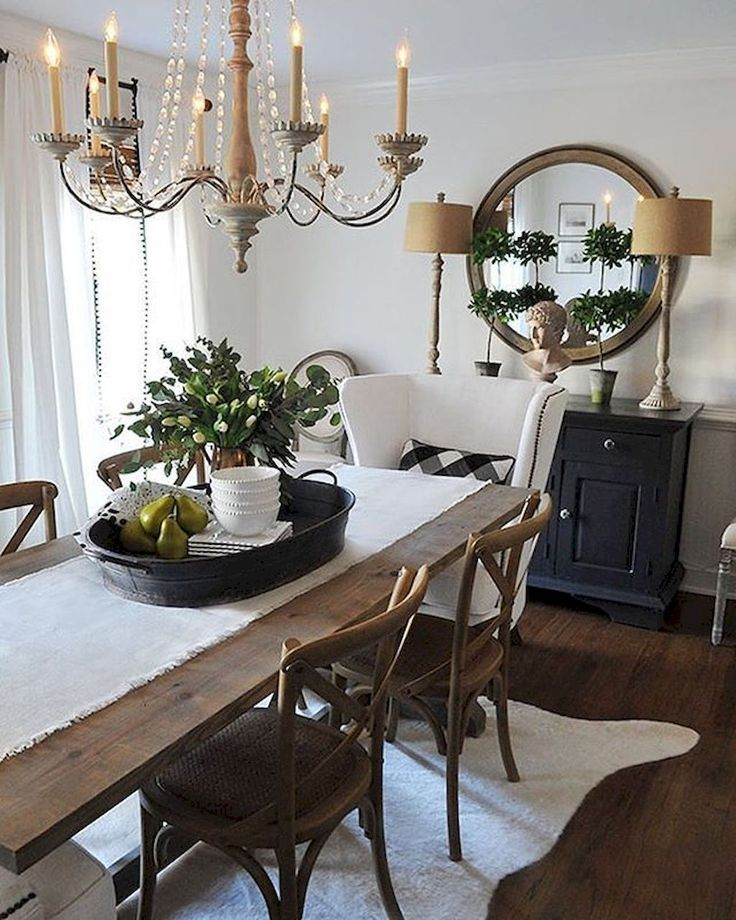 80 Gorgeous Farmhouse Dining Room Table And Decorating Ideas Decorat Farmhouse Dining Rooms Decor Farmhouse Dining Room Table Dining Room Table Centerpieces