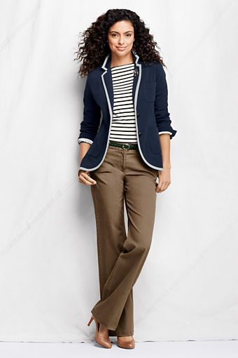 Women's Fit 2 Stretch Chino Trousers from Lands' End. Business casual.