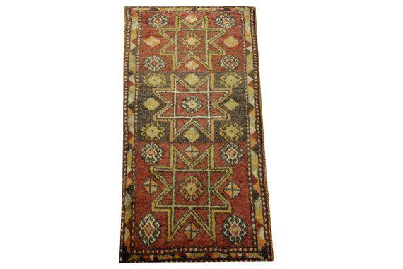 Doormats Turkish rugs handmade 3.0 x 1.4 Feet by stripepattern