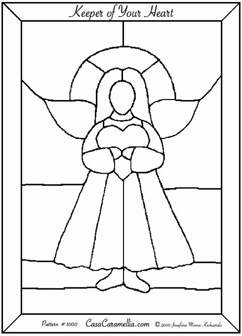 Keeper of your heart angels stained glass pinterest for Christmas stained glass window templates