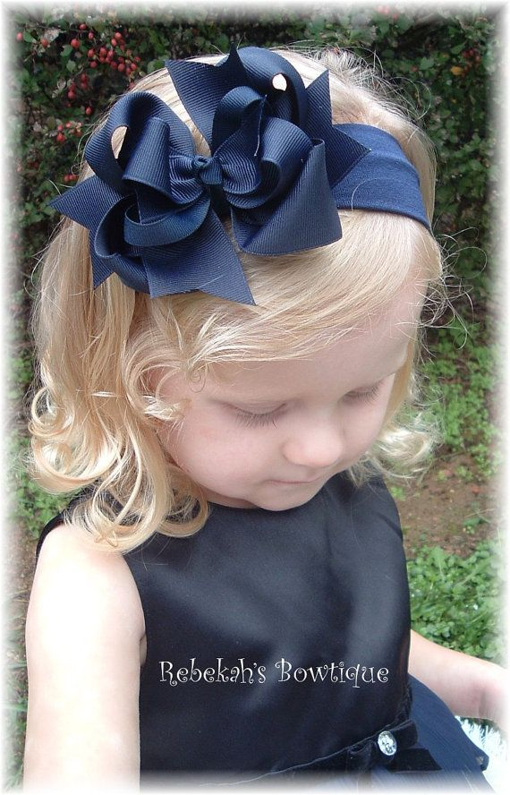 Navy Blue Hair Bow Headband or Clip Bowband School Uniform Girls Infant Toddler Baby Newborn Christmas Fall Portrait Unique on Etsy, $9.50