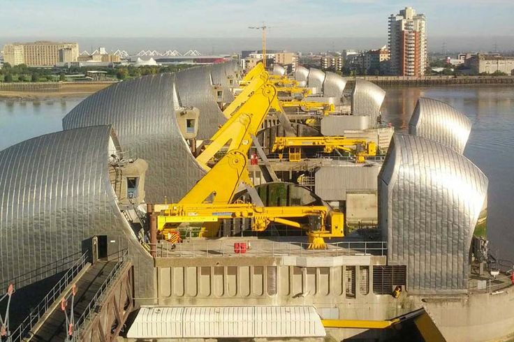 Photograph of the Thames Barrier Full Testing will be Oct 5 Sept 11 at 9:15am-11:15 they'll operate them