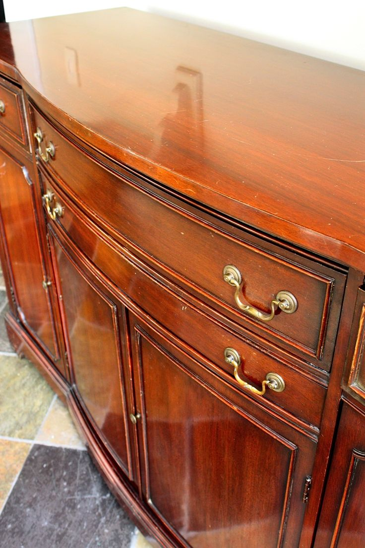 how to paint shiny wood furniture without sanding my sweet savannah the buffet a before and. Black Bedroom Furniture Sets. Home Design Ideas