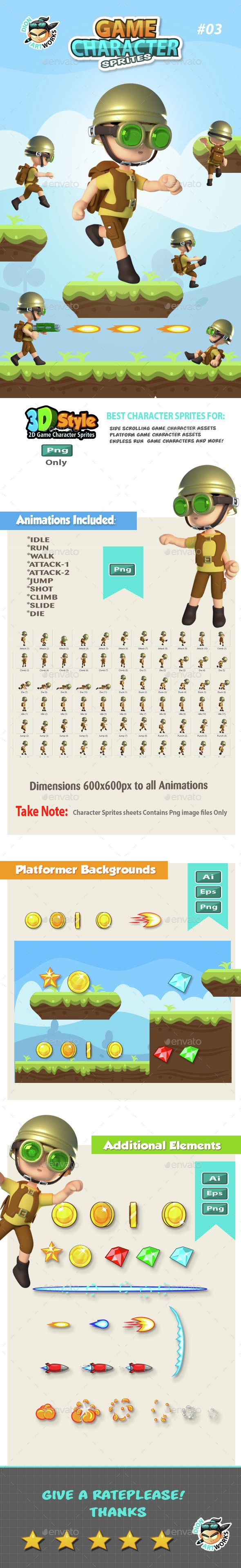 3D Style Game Character Sprites 03 - #Sprites #Game #Assets Download here: https://graphicriver.net/item/3d-style-game-character-sprites-03/14763257?ref=alena994