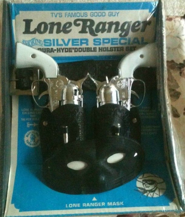 Can't imagine little boys being able to play 'Cowboys and Indians' anymore with these.  :'(   MATTEL: 1965 Lone Ranger Silver Special Holster Set #Vintage #Toys